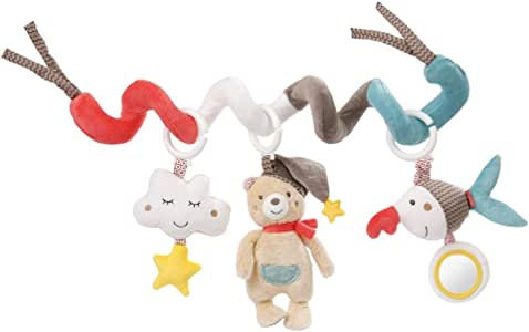 Fehn 060218 螺旋儿童毛绒玩具 Bruno | 布料螺旋,用于抓握和感受,婴儿床,围栏可调节 | 适合 0 个月以上的婴儿和幼儿 | 尺寸: 30厘米长。