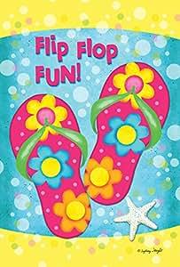 Toland Home Garden Flip Flop Fun 12.5 x 18 Inch Decorative Colorful Summer Sandal Starfish Flower Bubble Garden Flag