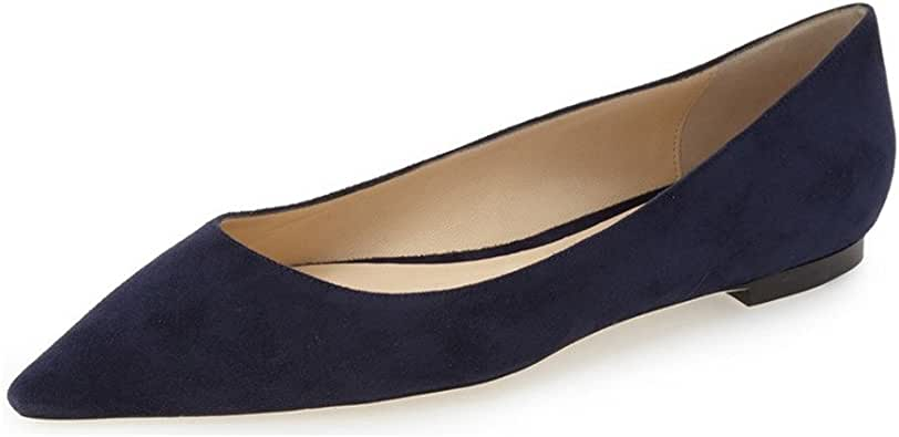YDN Women Classic Pointy Toe Suede Flats Low Cut Slip On Casual Shoes Soft 深蓝
