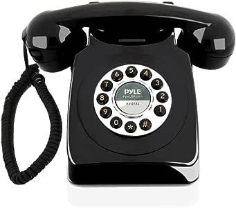 Pyle 复古设计有线座机电话-经典老式旋转拨号风格 书桌家庭办公室带线圈的电话,带按钮拨号,标准电话插孔