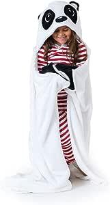 Canoogles 儿童可穿连帽毛毯   超柔软舒适带边角手袋   可机洗   高 101.6 厘米 x 宽 127 厘米,均码 熊猫