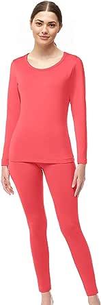 WUHOUPRO 女士超软超细纤维羊毛保暖内衣长裤 玫瑰红 Large