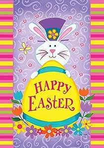 托兰 家居花园顶帽兔子 31.75 x 45.72 cm 装饰快乐复活节兔子春花花园旗帜