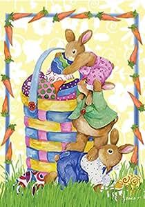 Toland Home Garden Bunnystack 12.5 x 18 Inch Decorative Cute Easter Egg Basket Bunny Rabbit Carrot Garden Flag