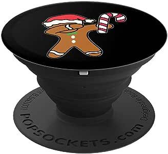 圣诞装饰姜饼男式糖果手杖舞礼品 PopSockets 手机和平板电脑握架260027  黑色