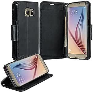 Galaxy S7 Edge 手机壳,三星 Galaxy S7 Edge 钱包式手机壳,翻转对开【支架功能】PU 皮钱包式手机壳带 S7 Edge 的身份证和信用卡插槽,纯色5347137 黑色