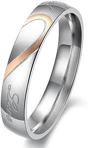 "LackingOne 女式""真爱""心形不锈钢戒指 情侣婚礼订婚承诺 尺寸 9 色 金色"