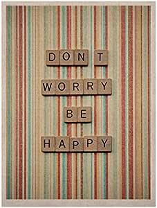 Kess InHouse Nastasia Cook Don't Worry Be Happy 排印天然帆布艺术画,27.94 x 35.56 厘米