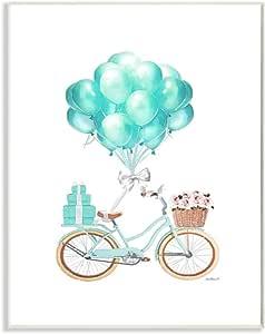 Stupell Industries 蓝色气球自行车水彩设计,由 Amanda Greenwood Art 设计,13 x 0.5 x 19 英寸(约 33.0 x 1.3 x 48.26 厘米),墙壁牌匾