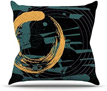 Kess InHouse Micah Sager 周末蓝橙色户外抱枕,50.8 x 50.8 厘米