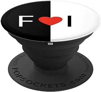 F love I 字母心形黑色和白色字母组合首字母设计 PopSockets 手机和平板电脑握架260027  黑色