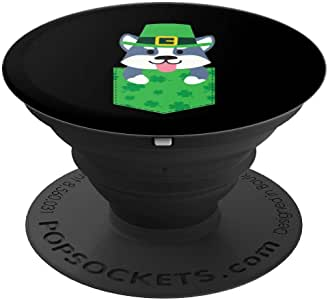 爱尔兰哈士奇狗口袋趣味可爱圣帕特里克节202020PopSockets 手机和平板电脑抓握支架260027  黑色