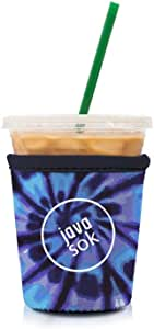 JAVA SOK 可重复使用咖啡套 - 冰饮料和杯套 隔热氯丁橡胶套| 适合所有大小的星巴克咖啡、麦克唐纳德、邓肯甜甜圈(更多颜色和尺寸) 扎染蓝色 Small 16-18oz