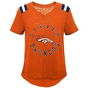 NFL by Outerstuff NFL 丹佛野马队青年女孩复古复古复古短袖橄榄球 T 恤,橙色,青年中号(10-12)