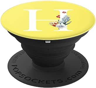 黄色白色交织字母花卉首字母 H PopSockets 手机和平板电脑握架260027  黑色