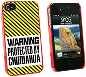 Graphics and More Warning Protected By Chihuahua - Snap On Hard Protective Case for Apple iPhone 4 4S - Red - Carrying Case - Non-Retail Packaging - Red