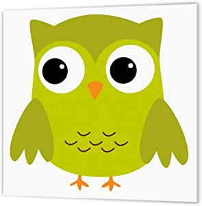 """3dRose ht_58280_3 Cute Green Owl Iron on Heat Transfer for White Material, 10 by 10"""""""