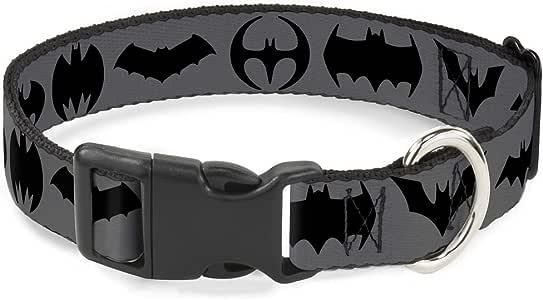"""带扣狗项圈塑料夹蝙蝠标志过渡灰黑色可选,适合中小型犬 蝙蝠侠 1.5"""" Wide - Fits 13-18"""" Neck - Small"""