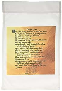 "3drose 777images Designs 图案设计圣经章节–psalm 23. "" THE lord IS MY 牧羊犬 "" ON A 金色背景带2个小号 lambs 人造压花 .–旗帜 12 x 18 inch Garden Flag"