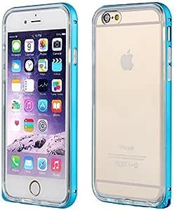 酷炫创意 iphone 6/ 6S 保护套双层防震保护套 TPU 透明后盖带铝制金属框架适用于 iPhone 6/ 6s 蓝色