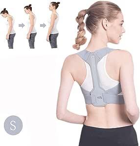 男女通用姿势矫正器 - 可调节肩部姿势矫正带 - FDA 批准可调节上背带 - 用于驼背的隐形胸背带 S