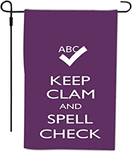 Rikki Knight Keep Clam and Spell 字样方格装饰房或花园全出血旗,30.48 x 45.72 cm,紫色