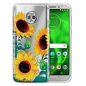WIRESTER 手机壳兼容摩托罗拉 Moto G6 5.7英寸透明 TPU 硅胶保护套软胶皮肤 Moto G6 - Cactus 花 Sunflower Portrait