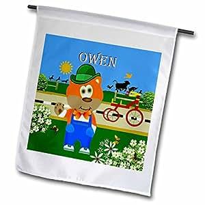 smudgeart MALE 儿童名字设计–装饰 Bear 佩戴工装 with THE 名称 OWEN–旗帜 12 x 18 inch Garden Flag