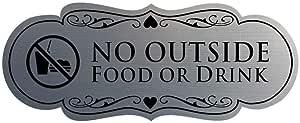 "Signs ByLITA Designer No Outdoor Food or Drink 标志 Medium (2-3/4"" x 7"") 拉丝银"