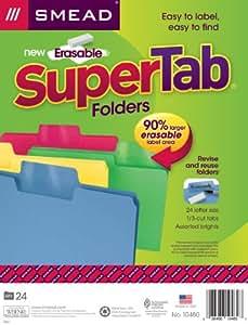 Smead 可擦除 SuperTab 文件文件夹,可擦除 Letter 混色