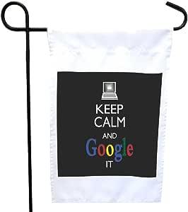 Rikki Knight Keep Calm and Google It - 黑色房子或花园旗帜 30.48 x 45.72 cm 旗帜尺寸 带27.94 x 27.94 cm 图像