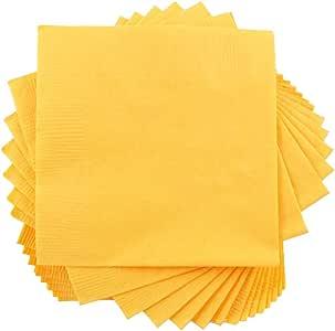 JAM PAPER tablewares–纸餐巾–中号午餐尺码 ( 61/ 2英寸 x 61/ 2英寸 )–50/ 包 黄色 Medium Lunch Napkins (6.5 x 6.5 in)