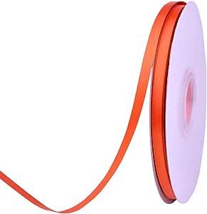 Ribest 1/4 英寸 50 码纯双面缎带每卷 DIY 发饰剪贴簿礼品包装派对装饰婚礼花 Torrid 橙色