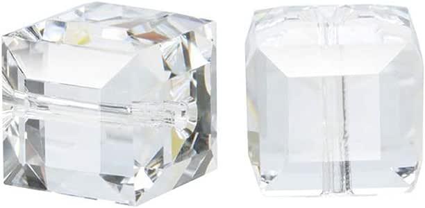 施华洛世奇诞生石立方体水晶珠耳环手镯脚链项链 钥匙扣 首饰制作用品 水晶透明 4mm (Small beads)