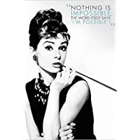 Buyartforless Audrey Hepburn - Nothing is Impossible 36x24 报价艺术海报