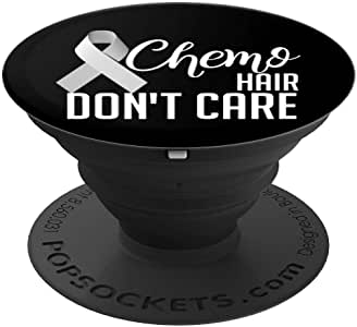 Brain Cancer 幸存者礼物 Chemo Hair Don't Care 趣味 - PopSockets 手机和平板电脑握架260027  黑色
