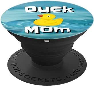 送给妈妈或动物爱好者的 Duck Mom 橡胶鸭子礼物 - PopSockets 手机和平板电脑的握把和支架260027  黑色