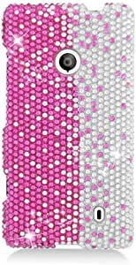 Eagle Cell PDNK521S322 RingBling Brilliant Diamond Case for Nokia Lumia 521 - Retail Packaging - Hot Pink/Silver Divide