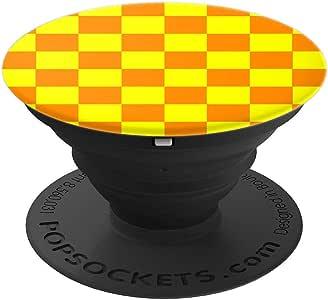 橙黄色方格图案棋盘黄色橙色 PopSockets 手机和平板电脑握架260027  黑色