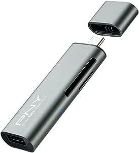 PNY USB-C 读卡器适配器 适用于 SD 卡和 MicroSDR-TC-UA-3N1E01-RB USB-C 3.1 to USB