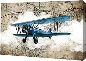 "PrintArt ""Biplane 1"" 由 GraphINC Studio Gallery Wrapped Giclee 油画艺术印刷品,40.64 厘米 x 27.94 厘米"