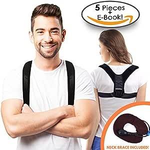 STR Remedies 姿势纠正器 - 上背支撑和锁骨支撑 - 可调节肩支撑姿态矫正器 男女皆宜 - 免费颈部设备、腋下垫和电子书