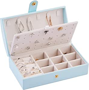 Rikivt 女士和女孩首饰盒,双层 PU 首饰盒,便携式旅行珠宝收纳盒,矩形珠宝盒收纳盒,适用于戒指耳环项链 蓝色