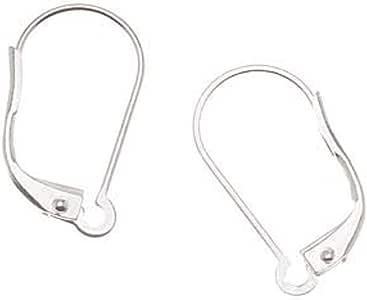 镀银耳环,杠杆背面,可互换环,一对 5 个