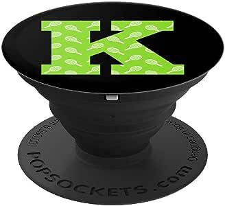 字母 K 交织字母黑色网球火箭印刷运动员礼物 - 手机和平板电脑的 PopSockets 抓握和支架260027  黑色