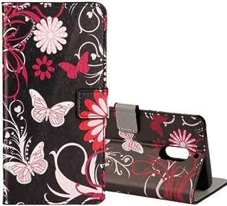 alsatek PU 皮革手机套保护壳适用于诺基亚 N5 - 蝴蝶 - 黑色
