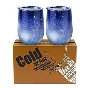 葡萄*杯,GIGRIN 340.19 克不锈钢保温*杯带盖和吸管,无*杯,咖啡、饮料、*吧 - 刷子配件使清洁更容易(星蓝色) Star Blue