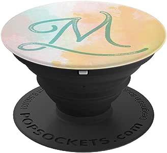 字母 M 首字母字母交织字母粉色蓝*水彩可爱薄荷味波袜柄和支架,适用于手机和平板电脑260027  黑色