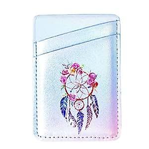 手机信用卡夹口袋钱包 PU 皮革双插槽粘合袋套贴纸适用于 iPhone Xs Max XR 8 7 Plus 丢失智能手机 花卉色