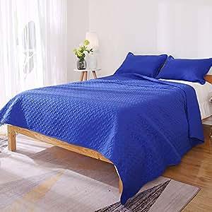Deconovo Quilt 替代套装床上用品套装 蓝色 88 X88 Inch AB027-2 Blue Queen Size